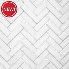 New! Thassos Herringbone Polished Marble Mosaic