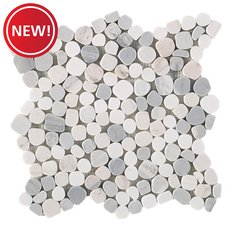 New! Dolomite Palissandro Honed Pebble Mosaic