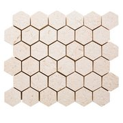 Fossil 2 in. Hexagon Brushed Limestone Mosaic