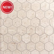 New! Fossil 2 in. Hexagon Brushed Limestone Mosaic