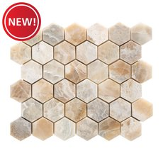 New! Oxyx 2 in. Hexagon Brushed Travertine Mosaic