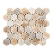 Oxyx 2 in. Hexagon Brushed Travertine Mosaic