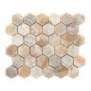 Traonyx 2 in. Hexagon Brushed Travertine Mosaic