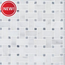 New! Chateau Basket Weave Polished Carrara Marble Mosaic