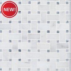 New! Chateau Basket Weave Polished Carrara Marble Mosaic