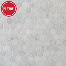 New! Chateau 1 in. Hexagon Honed Carrara Marble Mosaic