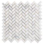 Carrara Chateau Herringbone Honed Marble Mosaic