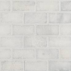 Carrara Chateau Tumbled Marble Brick Mosaic