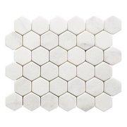 Carrara Chateau 2 in. Hexagon Tumbled Marble Mosaic