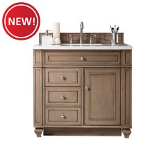 New! Bristol 36 in. White Washed Vanity with White Quartz Top