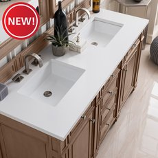New! Bristol 60 in. White Washed Vanity with White Quartz Top