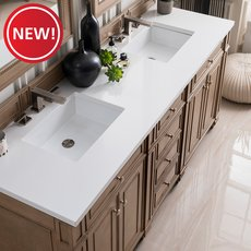 New! Bristol 72 in. White Washed Vanity with White Quartz Top
