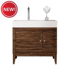 New! Linear 36 in. Midcentury Walnut Vanity with Glossy White Solid Surface Top