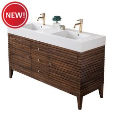 New! Linear 59 in. Midcentury Walnut Vanity with Glossy White Solid Surface Top