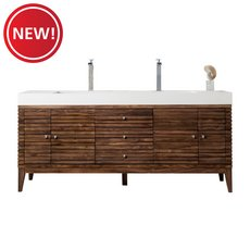 New! Linear 72 in. Midcentury Walnut Vanity with Glossy White Solid Surface Top