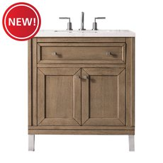 New! Chicago 30 in. White Washed Walnut Vanity with Arctic Fall Quartz Top