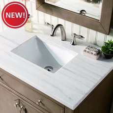 New! Chicago 36 in. White Washed Walnut Vanity with Arctic Fall Quartz Top