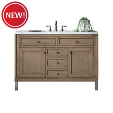 New! Linear 48 in. White Washed Walnut Vanity with Arctic Fall Quartz Top