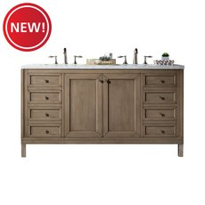 New! Chicago 60 in. White Washed Walnut Vanity with Arctic Fall Quartz Top