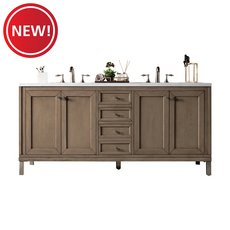 New! Chicago 72 in. White Washed Walnut Vanity with Arctic Fall Quartz Top