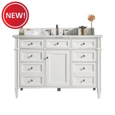 New! Brittany 48 in. Cottage White Vanity with Arctic Fall Quartz Top