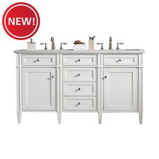 New! Brittany 60 in. Cottage White Vanity with Arctic Fall Quartz Top