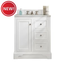 New! Desoto 30 in. Bright White Vanity with Carrara Top