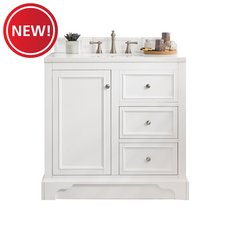 New! Desoto 36 in. Bright White Vanity with Carrara Top