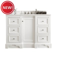 New! Desoto 48 in. Bright White Vanity with Carrara Top