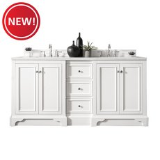 New! Desoto 72 in. Bright White Vanity with Carrara Top