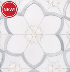 New! Flora II Thassos Latin Blue Mother of Pearl Mosaic