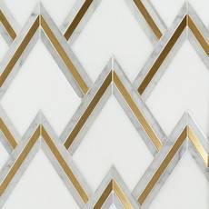 Bravos II Thassos Carrara Brass Waterjet Mosaic