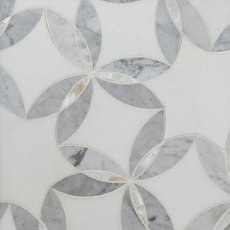 Dahlia II Thassos Mother of Pearl Waterjet Mosaic