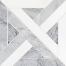 Parquet II Bianco Carrara Thassos Marble Mosaic