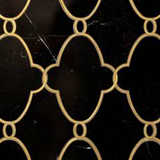 Gatsby II Black Jade and Brass Waterjet Marble Mosaic