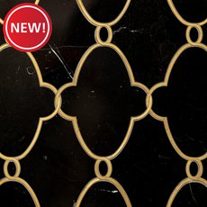 New! Gatsby II Black Jade and Brass Waterjet Marble Mosaic
