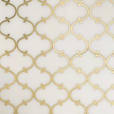 Dionysus II Royal White Marble and Brass Waterjet Mosaic