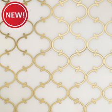 New! Dionysus II Royal White Marble and Brass Waterjet Mosaic