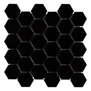 Black Matte 2 in. Hexagon Porcelain Mosaic