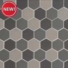New! Dark Blend Matte 2 in. Hexagon Porcelain Tile