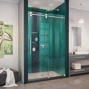 Enigma XO Polished Stainless Steel Fully Frameless Sliding Shower Door