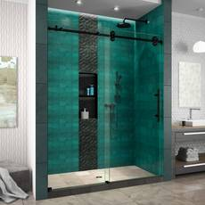 Enigma XO Satin Black Fully Frameless Sliding Shower Door