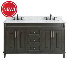New! Sterling 61 in. Gray Vanity with Carrara Marble Top