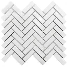 Glossy White Herringbone Porcelain Tile