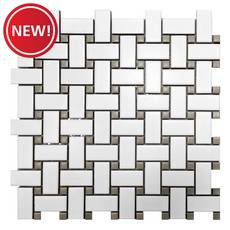 New! Gray and White Basket Weave Porcelain Tile