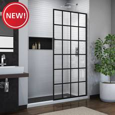 New! Linea Toulon Satin Black Single Panel Frameless Screen Shower Door