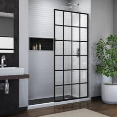 Linea Toulon Satin Black Single Panel Frameless Screen Shower Door