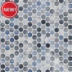 New! Multi Gray Polished Porcelain Penny Mosaic