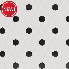 New! White and Black Hexagon Polished Porcelain Mosaic