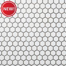 New! White Small Hexagon Polished Porcelain Mosaic